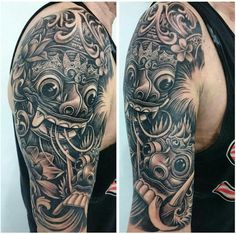 Barong and rangda mask tattoo