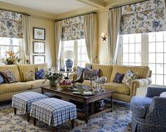french country living rooms.  I like the blue/yellow combo.  Blue walls though.  Primarily blue with yellow and cream.