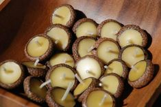 Acorn cap floating candles