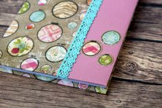 A5 personalized Hardcover journal wrapped and decorated with scrapbooking paper. This writing journal can come with a name of your choosing (Just
