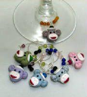 Sock Monkey Wine Glass Charms