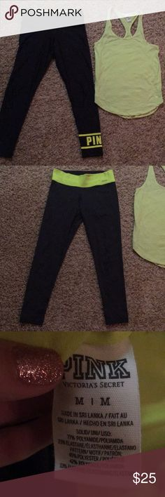 Victoria's Secret VS Reversible Yoga pants & Tank Leggings are reversible (shown each way).  Top is a small and bottoms are a medium!  Great condition! Victoria's Secret Pants Leggings