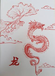 Chinese dragon Large pen and marker Chinese Dragon illustration. - Chinese dragon Large pen and marker Chinese Dragon illustrations. Red Dragon Tattoo, Chinese Dragon Tattoos, Dragon Tattoo For Women, Dragon Tattoo Designs, Japanese Tattoos, Chinese Dragon Drawing, Dragon Tattoo Drawing, Dragon Tattoo On Back, Red Chinese Dragon