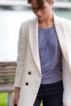 4 Button Jacket- Ivory