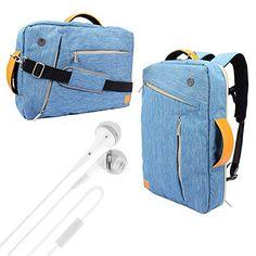 c02e620f23b8 VanGoddy 3 in 1 Travel School Shoulder Bag Backpack and Messenger Bag  Briefcase for ASUS Flip   ASUS Transformer Book inch Laptops (Blue) White  VG Headphone