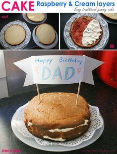 Raspberry & Cream layered Cake... easy to cook & yummy desert the family will love