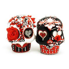 Victorian Red and Black Romontic Red Blood Skull Cake Topper Gothic Wedding Decor Handmade Gifts 00031  www.goodiemud.com