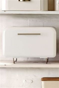 White Contemporary Metal Bread Bin by Next
