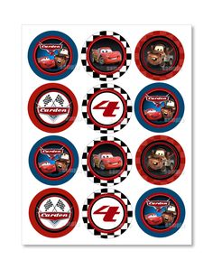 Personalized Disney Cars Cupcake Toppers Or Favor Tags Gift