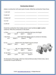 Use our third grade worksheets to give your students fun spelling practice with words they need to know. Here they'll cover calendar words & contractions. Contraction Worksheet, Spelling Worksheets, Social Studies Worksheets, Teacher Worksheets, Spelling Bee Word List, 3rd Grade Spelling, Spelling Practice, Spelling Games, Word Brain Teasers