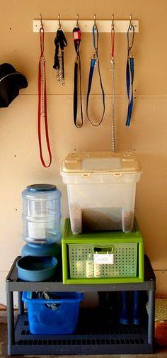 Dog supplies stored in garage