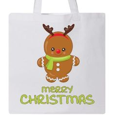 Inktastic Merry Christmas Tote Bag Holiday Children Gingerbread Kids Red Green Reindeer Costume Scarf Reusable Grocery Book, White