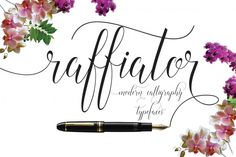 INTRODUCING Raffiator script Is a hand calligraphy, smooth, modern and clasik, calligraphy wavy, which was created to meet the needs of your next design project. Raffiator, Can used for various purposes. such as the title, signature, logo, correspondence, wedding invitations, letterhead, signage, labels, newsletters, posters, badges, etc.