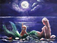 Mom and baby looking at the moon Mutter und Baby, die den Mond betrachten Mermaid Island, Mermaid Cove, Baby Mermaid, Mermaid Artwork, Mermaid Drawings, Mermaid Tattoos, Mermaid Paintings, Fantasy Mermaids, Unicorns And Mermaids