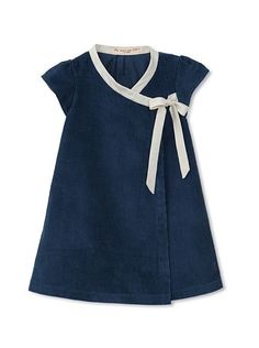 sweet and simple- navy Corduroy wrap dress with contrast trim/bow [Je Suis en CP! Little Girl Outfits, Little Girl Fashion, Little Girl Dresses, Kids Fashion, Baby Girl Dresses, Baby Dress, Cute Dresses, Wrap Dresses, Dress Anak