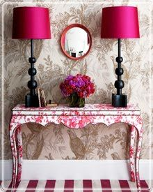 Painted Print Side Table Pink Of Course Furniture Fabric Covered