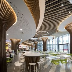 Home Decoration With Flowers Corporate Interior Design, Restaurant Interior Design, Mall Design, Retail Design, Food Court Design, Shoping Mall, Shopping Mall Interior, Rustic Cafe, Column Design