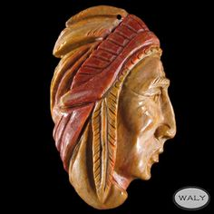 Carved Large American Indian Pendant Bead AD502038 | eBay