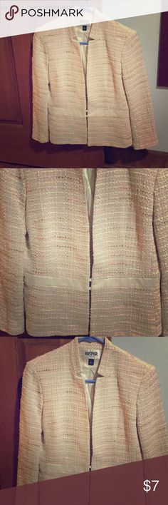 Vintage blazer.  Beautiful pink and cream design. Pink and cream silky blazer.  Beautiful craftsmanship.  Size 6P.  The sleeves are 3/4 length and over all this blazer is in great condition. Kasper Jackets & Coats Blazers