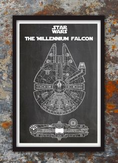 Millennium Falcon Star WarsPatent Wall Print by PlexityPrints