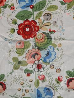 Vintage Floral Chintz Fabric Folk Art Print