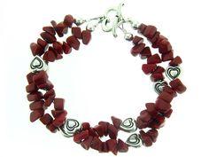 Coral and Hearts Bracelet --Shop at brightlingsbeads.com!!