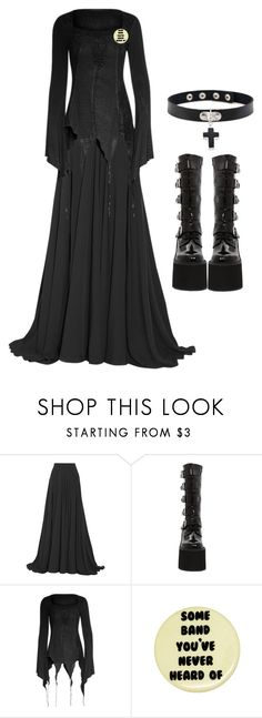"""Outfit 807 (Plain Goth)"" by creaturefeaturerules ❤ liked on Polyvore featuring Elie Saab and Demonia"