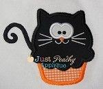 Black Cat Cupcake Applique Design