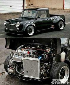 Mini Cooper S, Mini Cooper Classic, Classic Mini, Mini Trucks, Cool Trucks, Hot Rod Trucks, Custom Trucks, Custom Cars, Classic Trucks