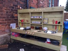 Mud Kitchen Playroom Ideas Mud Kitchen For Kids Mud Outdoor Play Kitchen, Diy Mud Kitchen, Mud Kitchen For Kids, Outdoor Play Spaces, Kitchen Corner, Kitchen Ideas, Kitchen Designs, Kids Outdoor Play Equipment, Natural Playground