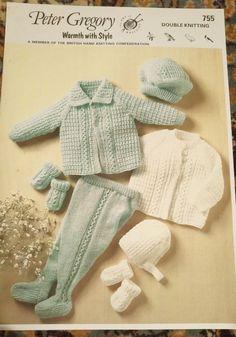 Baby Textured Pram Set Peter Gregory knitting pattern #755 8 ply yarn #PeterGregory