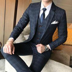 Neue 2 Stück Anzug In Verarbeitung 2018 Mode Herren Navy Anzüge Blazer Hosen Formale Kleid Anzug Männer Hochzeit Anzüge Bräutigam Smoking Exquisite jacke + Pants