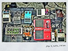 Johnny Greenwood Pedalboard look-a-like contest... or at least it should be.