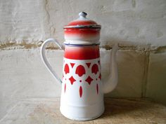 French enamel coffee pot, 1950's French enamelware. Red geometric decor. Rustic kitchen decor, French country farmhouse.