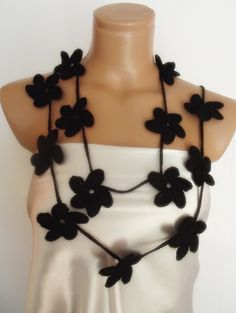 black hand crocheted floral scarf lariat necklace by smilingpoet, $21.90