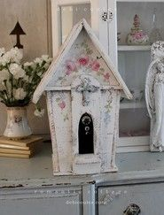 Shabby Chic Vintage Style  Large Prairie Rose Chapel Birdhouse