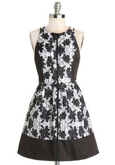 Cereus Business Dress. Day in and day out, you give it your all at the office, and you employ that same determination when it comes to choosing the perfect evening look  this floral dress! #black #modcloth