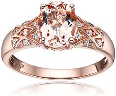 10k Rose Gold Morganite and Diamond Solitaire Engagement Ring (1/8cttw, H-I Color, I1-I2 Clarity), Size 7