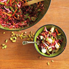 Red Quinoa and Beet Salad with Goat Cheese and Pistachios I love this combination