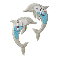 Nautical Seaside Dolphins Wall Art - Set of 2 >>> See this awesome image  : Home Decor Wall Pediments