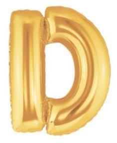 14'' Gold Megaloon Letter D Foil Balloon, air-fill