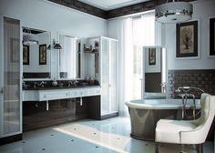 Просторная ванная комната с креслом