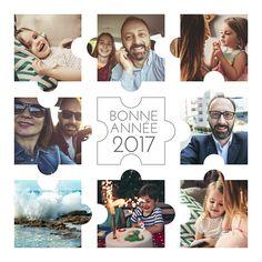 Découvrez cette carte de voeux Photo-puzzle et partagez vos plus beaux moments de l'année 2016 pour entamer l'année 2017 sous le signe du bonheur et de la bonne humeur. Faites plaisir avec vos souvenirs grâce à Popcarte !