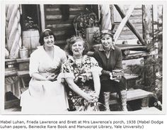 Mabel Dodge Luhan (left), with Frieda Lawrence and Dorothy Brett at the D. Lawrence Ranch north of Taos, New Mexico circa 1938 New Mexico, Mabel Dodge Luhan, D H Lawrence, Land Of Enchantment, Grand Tour, Historical Sites, Tao, History, American Literature