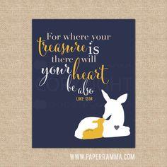 Luke 12:34 Where Your Treasure Is, Modern Animal Nursery Art // Warm & Fuzzy Collection // Choose Art Print or Canvas // N-XF07-1PS