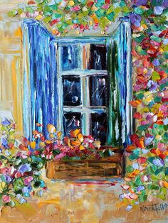 oil painting Provence window shutters and flowers palette knife texture fine art impressionism by Karen Tarlton Original oil painting Provence window by KarensfineartOriginal oil painting Provence window by Karensfineart Modern Impressionism, Impressionist Art, Palette Knife Painting, Window Art, Painting Inspiration, Flower Art, Collage, Art Prints, Drawings