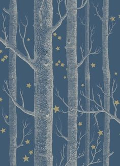 Woods & Stars Wallpaper A Cole's classic wallpaper with a twist, cream trees with gold stars on a dark teal background tapetti Stars Wallpaper, Kids Wallpaper, Wallpaper Online, Wallpaper Roll, Wallpaper Patterns, Bedroom Wallpaper, Tree Wallpaper Home, Paint Wallpaper, Scrapbook