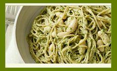 Pesto Pasta with White Beans  http://www.forksoverknives.com/recipes/pesto-pasta-white-beans/ #forksoverknives #pesto #pasta #whitebeans #basil #plantbased #vegan #plantstronghealthandfitnesswithmelanie