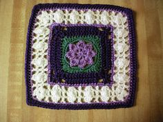 """Day 22: 12"""" Block Pick of the Day Princess Square by Melinda Miller   Free Pattern: http://www.ravelry.com/patterns/library/princess---12-square  #TheCrochetLounge #Crochet #Square Pick"""