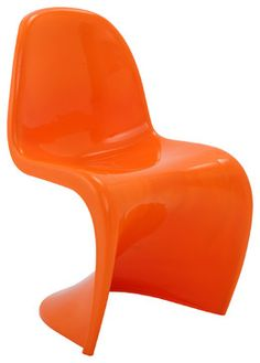 Verner Panton-Style Chair, Orange - modern - Dining Chairs - LexMod